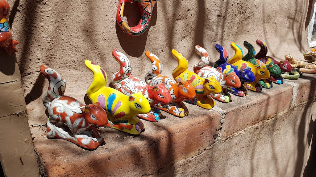 Pottery in Tubac: Colourful Mexican Style Squirrels