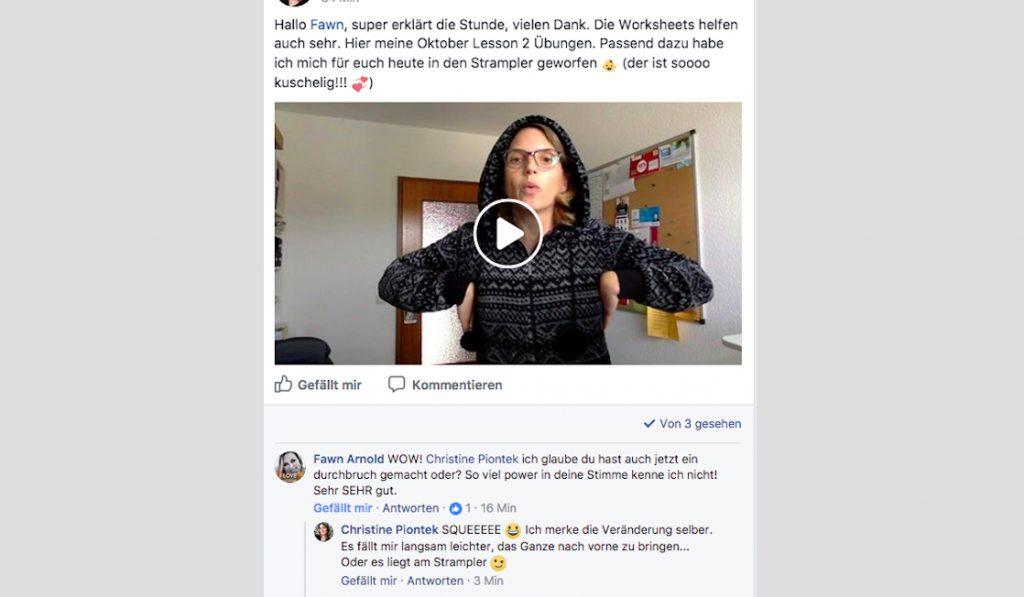 Blog Storytelling Text Christine Piontek Kommentar zur Übung im Onezie bei der Online-Gesangsschule SOAOGS von Fawn Arnold