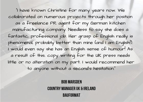 Referenz für Christine Piontek von Bob Marsden, Country Manager UK & Ireland, Bauformat